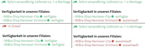 MiBra-Shop Verfügbarkeit