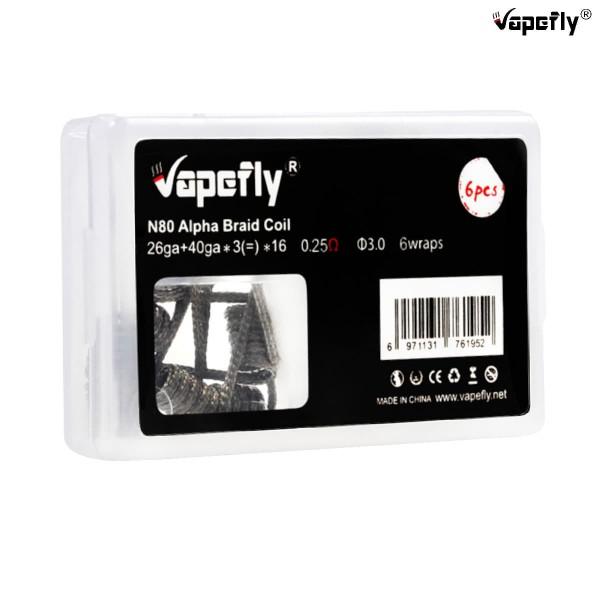 Vapefly Ni80 Prebuild Coils Alpha Braid 0,25Ω 6 Stk.