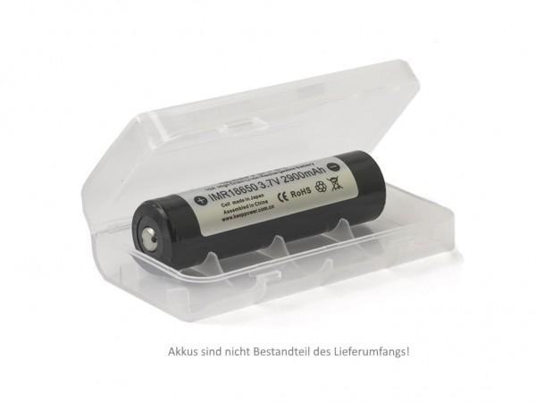 Box für 2x 18650er Akkus Transparent